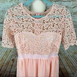 Gorgeous Dress Lace Upper Soft Pink / Peach
